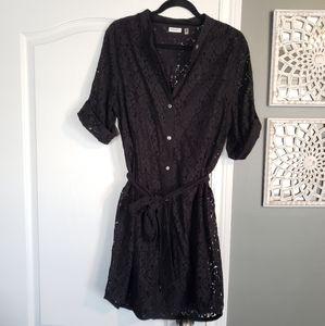 DKNYC Lace Wrap Button Up Dress